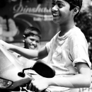 バイクの上の笑顔