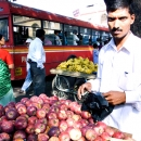 A Heap Of Red Apples On The Wagon @ India
