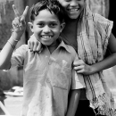 Boy, Girl And A Peace Sign @ India