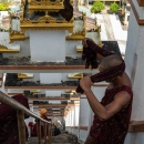 Buddhist Monks Working In Pagoda