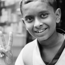 Peace Sign And Smile @ India