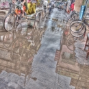 Cycle Rickshaw In The Puddle