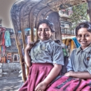 Two Girls On A Rickshaw @ India