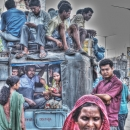 Woman And A Truck Filled With Passengers @ India