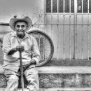 Old Man Wearing A Cowboy Hat @ Mexico