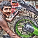 Man And A Rear Wheel @ India