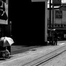 道端の大きな傘