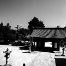 吉備津彦神社の境内に立つ母子