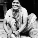 Woman Wearing A Saree Smiled @ India