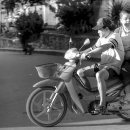 Husband And Wife On A Motorbike