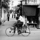 Daughter And Father On A Bicycle @ India