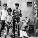 Three Boys At Attention And A Boy Making A Posture @ India