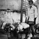 Man With Greay Beard And His Containers @ India