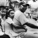 Father, Daugther And Son On The Same Motorbike