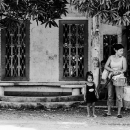 Mother And Her Little Daughter By The Roadside @ Philippines