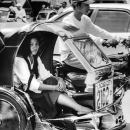 Long-haired School Girl On A Trishaw @ Philippines
