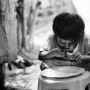 Little Boy In The Middle Of A Meal @ Philippines