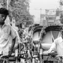 Rickshaw Wallah Stopping At The Red Light @ Bangladesh