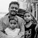 Father And His Two Sons On A Cycle Rickshaw @ Bangladesh