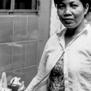 Woman Pointing Fingers In The Lane @ Vietnam
