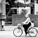Flag, Ao Dai And Bicycle @ Vietnam