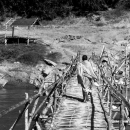 Monk Crossing The Bamboo Bridge