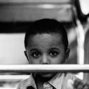 Boy Looking Through The Handrail
