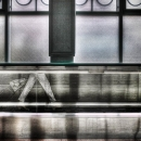 Woman And Moving Sidewalk