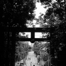 Silhouette In The Other Side Of Torii