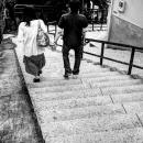 Couple Descending Stairway