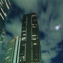 Moon Between Skyscrapers @ Tokyo
