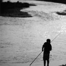 Silhouette Of A Fishing Boy @ Tokyo
