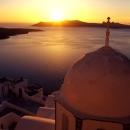 Church And Sunset In Santorini