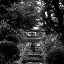 古びた階段の上にある門