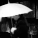 通りすがりの女性は日傘を差していた
