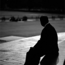 Silhouette Of A Sitting Man @ Tokyo