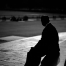 Silhouette Of A Sitting Man