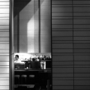 Long And Thin Window Of A Restaurant