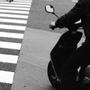 Rider At The Pedestrian Crossing