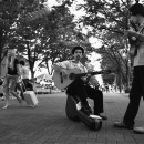 Two Guitarists In The Middle Of A Road @ Tokyo
