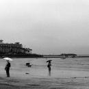Three Umbrellas On The Beach