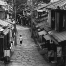 Woman Walking The Stone Paved Road @ Kyoto