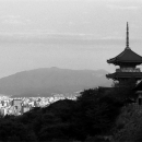 three-storied pagoda and the city - 清水寺の三重塔と町並み