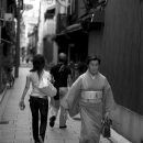 Woman In Japanese Dress In The Lane @ Kyoto