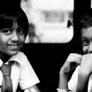 Girl And Boy By The Car Window @ Sri lanka