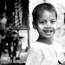 Smiling Boy Painted His Cheeks With Thanaka @ Myanmar