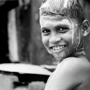 Boy Was Shampooing By The Wayside @ India