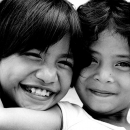 Two Girls Smiled Cheerfully