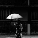 Woman In Kimono Walking The Street
