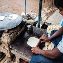 Roti On The Cast-iron Pan